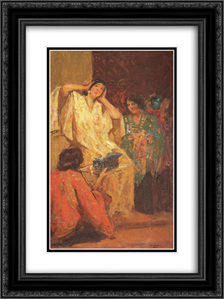 After Bath 18x24 Black or Gold Ornate Framed and Double Matted Art Print by Ipolit Strambu