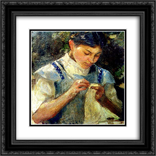 Girl Sewing 20x20 Black or Gold Ornate Framed and Double Matted Art Print by Ipolit Strambu