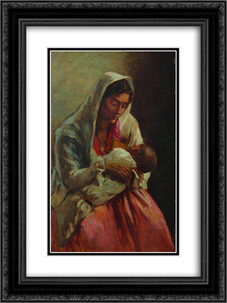 Maternity 18x24 Black or Gold Ornate Framed and Double Matted Art Print by Ipolit Strambu