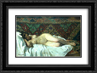 Nude With Carpet Background 24x18 Black or Gold Ornate Framed and Double Matted Art Print by Ipolit Strambu