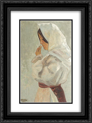 Peasant Woman 18x24 Black or Gold Ornate Framed and Double Matted Art Print by Ipolit Strambu