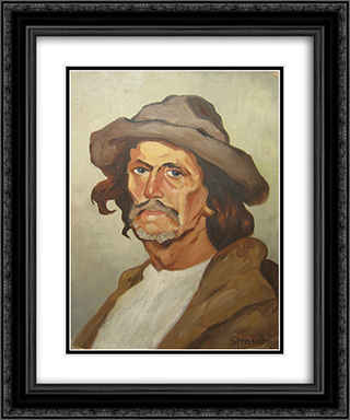 Portrait of a Peasant 20x24 Black or Gold Ornate Framed and Double Matted Art Print by Ipolit Strambu