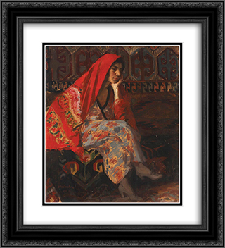 The Red Headscarf 20x22 Black or Gold Ornate Framed and Double Matted Art Print by Ipolit Strambu