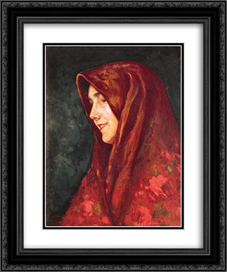 The Red Scarf 20x24 Black or Gold Ornate Framed and Double Matted Art Print by Ipolit Strambu