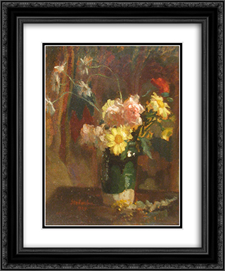 Vase with Flowers 20x24 Black or Gold Ornate Framed and Double Matted Art Print by Ipolit Strambu