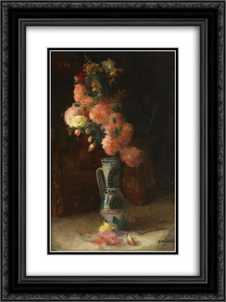 Vase with Roses and Chrysanthemums 18x24 Black or Gold Ornate Framed and Double Matted Art Print by Ipolit Strambu