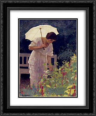 Woman with Umbrella 20x24 Black or Gold Ornate Framed and Double Matted Art Print by Ipolit Strambu
