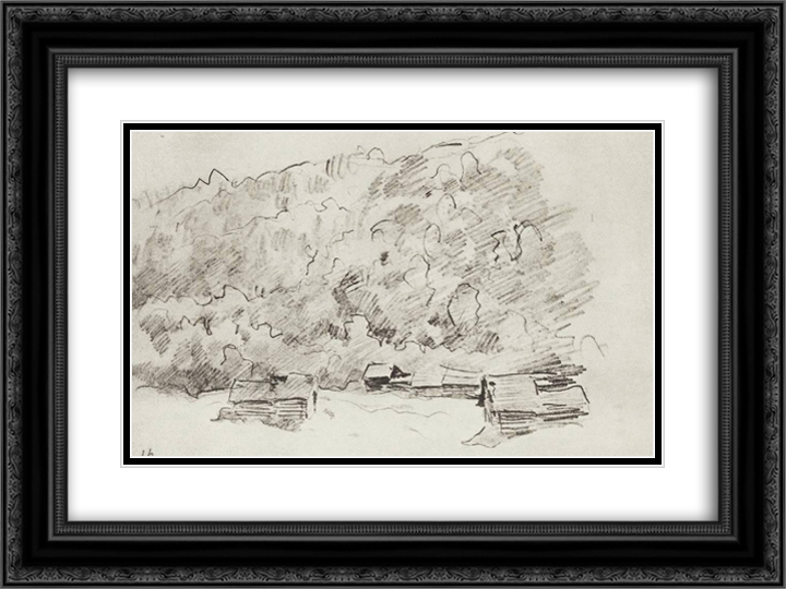 Dilapidated huts by the forested mountain 24x18 Black or Gold Ornate Framed and Double Matted Art Print by Isaac Levitan