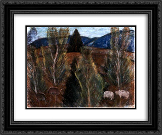 Bakony-Landscape 24x20 Black or Gold Ornate Framed and Double Matted Art Print by Istvan Nagy