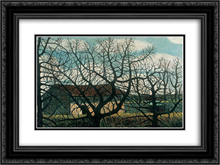 Bald trees with houses 24x18 Black or Gold Ornate Framed and Double Matted Art Print by Istvan Nagy