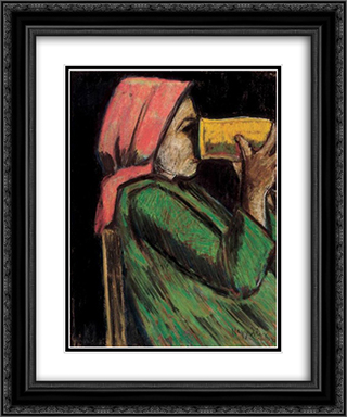 Drinking girl 20x24 Black or Gold Ornate Framed and Double Matted Art Print by Istvan Nagy