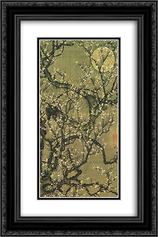 Baika kougetuzu 16x24 Black or Gold Ornate Framed and Double Matted Art Print by Ito Jakuchu