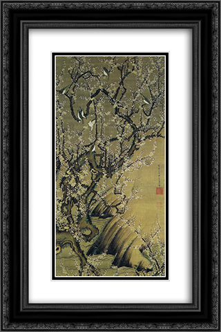 Baika shokinzu 16x24 Black or Gold Ornate Framed and Double Matted Art Print by Ito Jakuchu