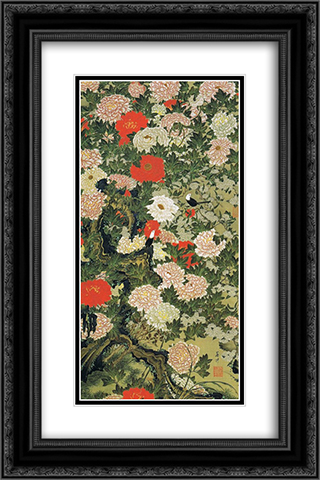 Botan shoukinzu 16x24 Black or Gold Ornate Framed and Double Matted Art Print by Ito Jakuchu