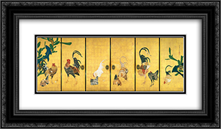 Cactus and Roosters 24x14 Black or Gold Ornate Framed and Double Matted Art Print by Ito Jakuchu