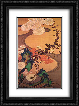 Chrysanthemums by a stream, with rocks 18x24 Black or Gold Ornate Framed and Double Matted Art Print by Ito Jakuchu