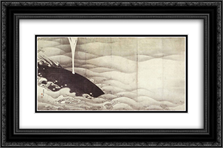 Elephant and Whale (diptych) 24x16 Black or Gold Ornate Framed and Double Matted Art Print by Ito Jakuchu