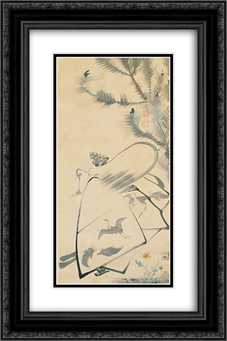 Fukurojin (Fukurokuju), the God of Longevity and Wisdom 16x24 Black or Gold Ornate Framed and Double Matted Art Print by Ito Jakuchu