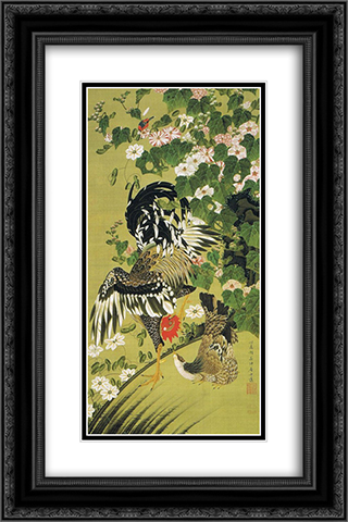 Fuyo soukeizu 16x24 Black or Gold Ornate Framed and Double Matted Art Print by Ito Jakuchu