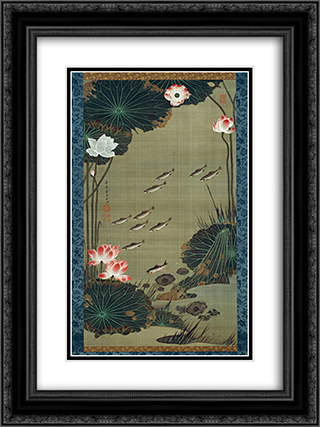 Lotus Pond and Fish 18x24 Black or Gold Ornate Framed and Double Matted Art Print by Ito Jakuchu