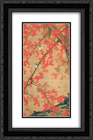Maple Tree and Small Birds 16x24 Black or Gold Ornate Framed and Double Matted Art Print by Ito Jakuchu