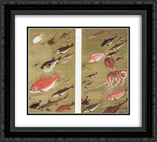 Octopus and Fish 22x20 Black or Gold Ornate Framed and Double Matted Art Print by Ito Jakuchu