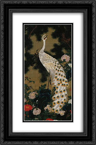 Old Pine Tree and Peacock 16x24 Black or Gold Ornate Framed and Double Matted Art Print by Ito Jakuchu