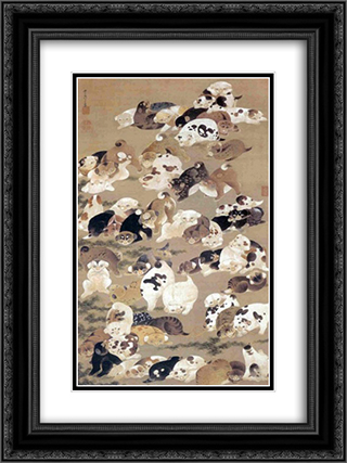 One Hundred Dogs 18x24 Black or Gold Ornate Framed and Double Matted Art Print by Ito Jakuchu