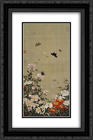 Peonies and Butterflies 16x24 Black or Gold Ornate Framed and Double Matted Art Print by Ito Jakuchu