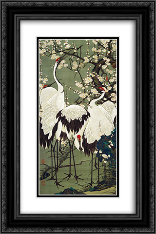 Plum Blossoms and Cranes 16x24 Black or Gold Ornate Framed and Double Matted Art Print by Ito Jakuchu