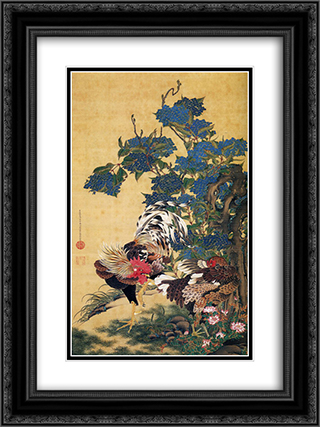 Rooster and Hen with Hydrangeas 18x24 Black or Gold Ornate Framed and Double Matted Art Print by Ito Jakuchu