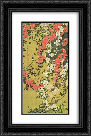 Roses (Bara Shou Kin Zu) 16x24 Black or Gold Ornate Framed and Double Matted Art Print by Ito Jakuchu