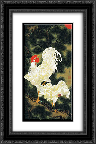 Rousho Hakkeizu 16x24 Black or Gold Ornate Framed and Double Matted Art Print by Ito Jakuchu