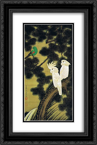 Rousho oumuzu 16x24 Black or Gold Ornate Framed and Double Matted Art Print by Ito Jakuchu