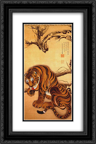 Tiger 16x24 Black or Gold Ornate Framed and Double Matted Art Print by Ito Jakuchu