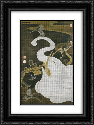 White Elephant and Animals 18x24 Black or Gold Ornate Framed and Double Matted Art Print by Ito Jakuchu