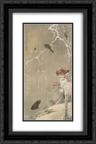 Willow Tree and Mandarin Ducks in the Snow 16x24 Black or Gold Ornate Framed and Double Matted Art Print by Ito Jakuchu