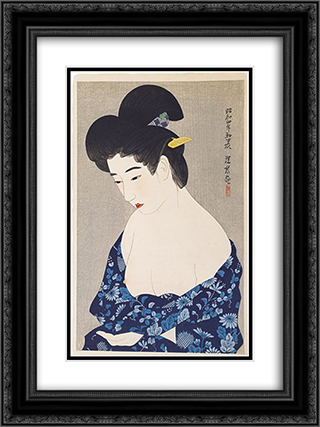 After the Bath 18x24 Black or Gold Ornate Framed and Double Matted Art Print by Ito Shinsui