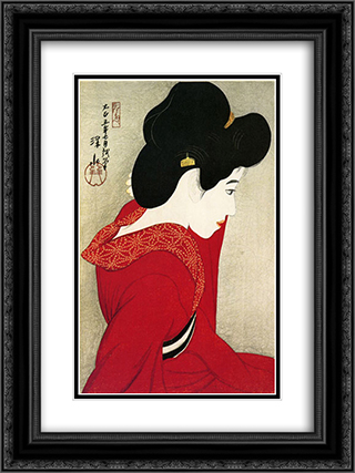 Before the Mirror 18x24 Black or Gold Ornate Framed and Double Matted Art Print by Ito Shinsui