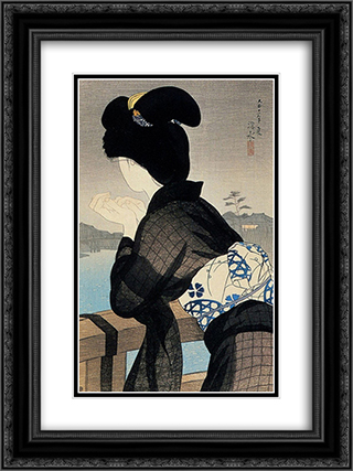 Evening Cool 18x24 Black or Gold Ornate Framed and Double Matted Art Print by Ito Shinsui