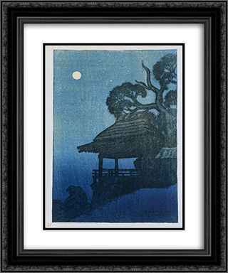 Evening Scene at Ishiyama Temple 20x24 Black or Gold Ornate Framed and Double Matted Art Print by Ito Shinsui