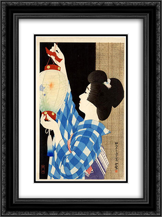 Gifu Paper Lantern 18x24 Black or Gold Ornate Framed and Double Matted Art Print by Ito Shinsui