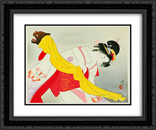 Kagamijishi Kabuki Dance 24x20 Black or Gold Ornate Framed and Double Matted Art Print by Ito Shinsui