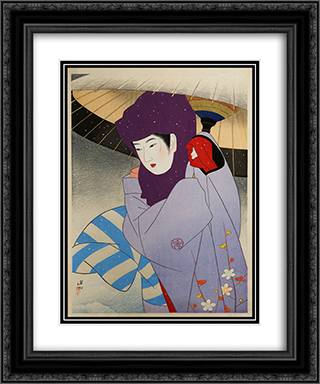 Okoso Hood 20x24 Black or Gold Ornate Framed and Double Matted Art Print by Ito Shinsui