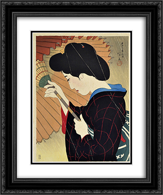Passing Rain 20x24 Black or Gold Ornate Framed and Double Matted Art Print by Ito Shinsui