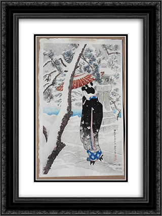The Grounds of a Shinto Shrine in Snow 18x24 Black or Gold Ornate Framed and Double Matted Art Print by Ito Shinsui