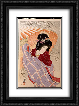 The Snow Storm 18x24 Black or Gold Ornate Framed and Double Matted Art Print by Ito Shinsui