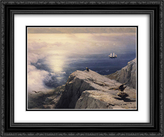 A Rocky Coastal Landscape in the Aegean 24x20 Black or Gold Ornate Framed and Double Matted Art Print by Ivan Aivazovsky