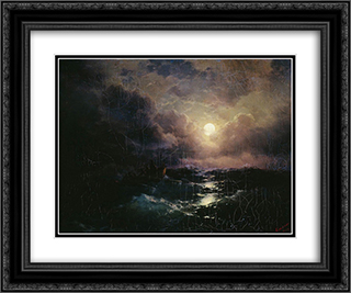 After the storm. Moonrise 24x20 Black or Gold Ornate Framed and Double Matted Art Print by Ivan Aivazovsky