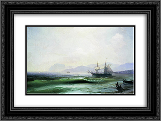 Agitated sea 24x18 Black or Gold Ornate Framed and Double Matted Art Print by Ivan Aivazovsky